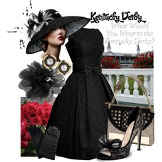 Kentucky Derby, created by uniqueimage on No hat Kentucky Derby Outfit, Kentucky Derby Fashion, Derby Attire, Derby Outfits, Races Fashion, Gothic Fashion, Victorian Fashion, Fashion Fashion, Derby Dress