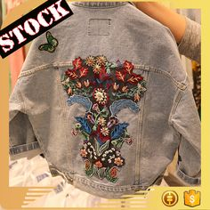 L8002 Wholesale Fashion Clothing 2017 Women Denim Jacket Fall & Winter Wash Embroideried Loose Jean Coats Plus Size Clothing