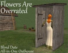 All-in-One Outhouse « Nixed Sims Skyrim, Sims3 House, Sims 4 Decades Challenge, Sims 4 Nails, Sims Medieval, Outdoor Toilet, Medieval Furniture, Play Sims, Sims Four