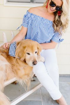Gingham for spring! @abbycapalbo Top: @jcrew | Bandana: @kjp | Earrings: @tuckernuck | Photography: @erinmcginn