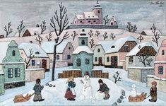 Art by Josef Lada Retro 2, Aesthetic Art, Old Houses, Christmas Time, Christmas Cards, Illustrators, Folk Art, Watercolor, Drawings