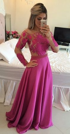 fuchsia prom dresses_prom dresses long_prom dresses for teens _evening gowns with sleeves_evening dresses long