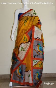 Pure silk #saree with #hand #painted #birds. and raw silk blouse! Check it out @ https://www.facebook.com/kalApinbySwethaReddem