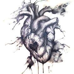 Bleeding Heart, tattoo design, ink, watercolor