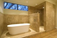 Shower without doors and free standing tub