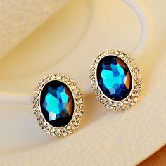 [$26.00] Oval Retro Dark Green Big Crystal Wedding Party Stud Earrings - Free Shipping