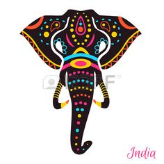 Indian Elephant head with drawing. Vector illustration