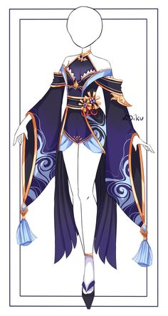 Dress Design Drawing, Dress Design Sketches, Dress Drawing, Fashion Design Drawings, Manga Clothes, Drawing Anime Clothes, Hero Costumes, Anime Costumes, Fantasy Character Design