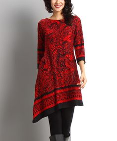 Look at this Red Paisley Asymmetrical-Hem Dress on #zulily today!