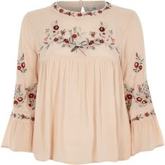 River Island Petite cream embroidered smock top ($76) ❤ liked on Polyvore featuring tops, blouses, cream, women, bell sleeve blouses, cream blouse, petite tops, pink blouse and petite blouses