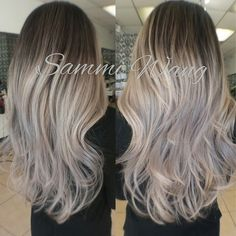 Color Correction/Balayage Ombre Took my client from a solid blond to a silver…