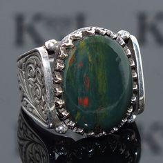 Silver Ring Bloodstone Men Sterling 925 Mens Jewelry unique handcrafted #KaraJewels #Handmade