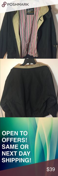 Vintage Lightweight Jacket London Fog Black SAME OR NEXT DAY SHIPPING! OPEN TO OFFERS! An elegant, simple, and stylish black coat by London Fog. Features a tuck able collar, a functional pocket on the left arm, and a striped design on the interior part of the jacket. Has one small stain (as shown in photo). Condition: 8.5/10 London Fog Jackets & Coats Lightweight & Shirt Jackets