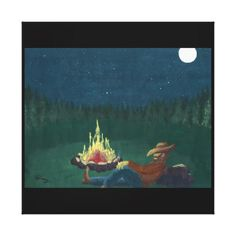 Smokin' Cowboy - Canvas...Cowboy, campfire, fire, smoking, woods, stars, moon, trees...Category, Other Art Forms, Painting, Acrylic