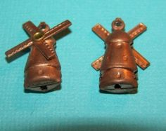 Vintage Copper Dutch Windmill Charms by yummytreasures Dutch Windmill, Charms, Copper, Unique Jewelry, Handmade Gifts, Creative, Stuff To Buy, Etsy, Vintage