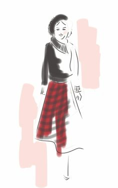 Pink Tartan by Lisa Nishimura Curated.Works: World MasterCard Fashion Week F/W 2014 LIVE Runway Sketches (Day 3) | Draw A Dot.
