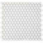 Merola Tile Hudson Penny Round Glossy White 12 in. x 12-5/8 in. x 5 mm Porcelain Mosaic Tile (10.2 sq. ft. / case), Glossy White/High Sheen