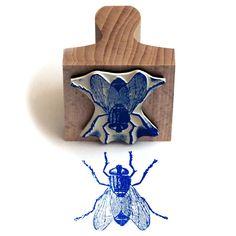 The Tampographe Sardon: Big Blue Fly Stencil Printing, Stamp Printing, Screen Printing, Linocut Prints, Art Prints, Engraving Printing, Illustration Art, Illustrations, Stamp Carving
