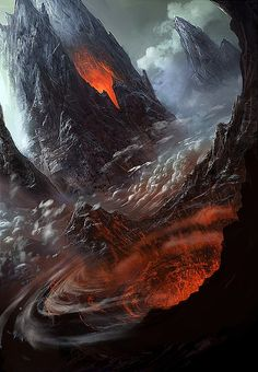 Digital Concept Art by George Lovesy, glow of flames fire underground artwork 3D depth into bottomless pit hole  March 2015