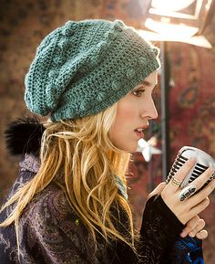 I love this knit hat! (#38 Bobble Hat crochet pattern Vogue Knitting Crochet by Candi Jensen)