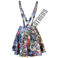 [Blue, M-L] NEW LADIES WOMENS PARTY SUPERMAN DC COMIC BOOK PRINT... (€13) ❤ liked on Polyvore featuring skirts, mini skirts, short white skirt, dungaree skirt, white mini skirt, short mini skirts and white skirt