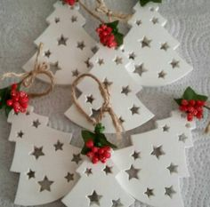 Silicone Mould Christmas Tree Stars Suspension for Polymer Paste Fimo Plaster WEPAM Porcelain Wax Clay Soap HK - Noel Christmas Tree Star, Polymer Clay Christmas, Polymer Clay Crafts, Diy Christmas Ornaments, Christmas Projects, Handmade Christmas, Holiday Crafts, Fimo Clay, Ceramic Christmas Decorations