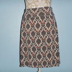 Max Studio Beige Taupe Medallion Geometric Fold Over Skirt Size Medium  #MaxStudio #Maxi
