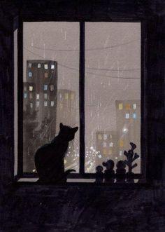 night watching #CatIllustration