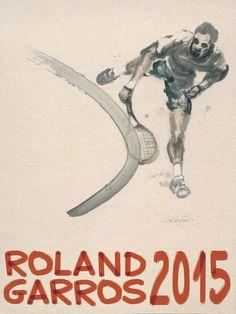 Poster of Roland-Garros 2015 © Du Zhenjun - Galerie Lelong - FFT 2015 Tennis Posters, Sports Posters, Tennis Serve, Davis Cup, Open Signs, Tennis Tournaments, Tennis Tips, French Open, Maria Sharapova