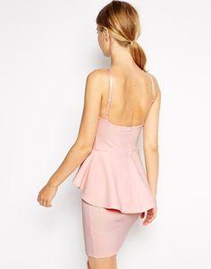 Enlarge ASOS Dipped Hem Mini Peplum Dress  (Pink/orange)