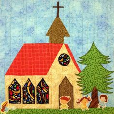 Starwood Quilter: My House Quilt - Church Block House Quilt Patterns, House Quilt Block, Paper Piecing Patterns, Quilt Block Patterns, Pattern Blocks, Quilt Blocks, Applique Quilts, Square Quilt, Mini Quilts