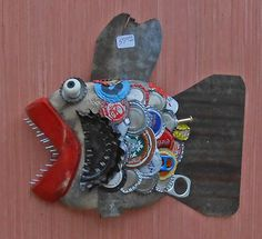 Carved Wooden Fish Wall Hanger #117 by Steve Meadows - Possum County Folk Art Gallery