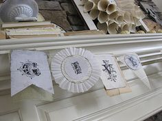bunting / banner / garland by Primp / white mantel decorating