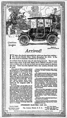 Vintage Newspaper Advertising For The 1913 Detroit Electric Automobile In The Brooklyn New York Daily Eagle, October 6, 1912.