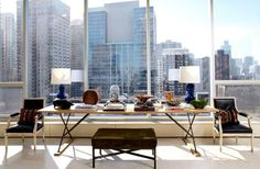 A pair of Louis XVI chairs mix it up with a contemporary plank-topped work-table. Nate Berkus Associates Design a Layered Gold Coast Condo - Chicago Home + Garden - Winter 2012 - Chicago Nate Berkus, Top Interior Designers, Luxury Interior Design, Interior And Exterior, Stylish Interior, Interior Work, Interior Styling, Exterior Design, Interior Architecture