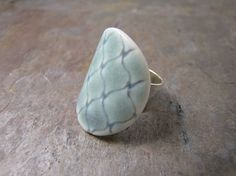 Round Diamond Pattern #Porcelain Ring in Blue by MSPottery