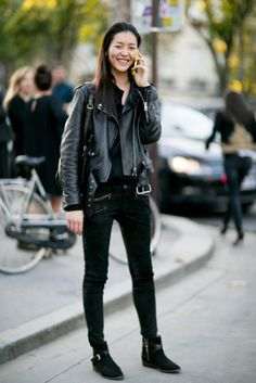 ☆ Rock 'n' Roll Style ☆   #LiuWen leather clad & fab. #offduty in Paris.