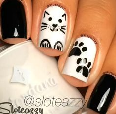 Elegant Black And White Nail Art Designs You Need To Try; Elegant Black And White Nail Art Designs; Elegant Black And White Nail; Black And White Nail; Black And White Nail Art Designs; Cat Nail Designs, Nail Designs 2015, Nails Design, Cat Nail Art, Cat Nails, Black And White Nail Designs, Black White, Nagel Hacks, Super Nails