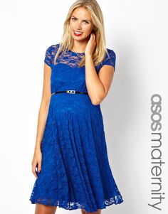 $23, Blue Lace Skater Dress: Asos Maternity Lace Skater Dress With Belt. Sold by Asos. Click for more info: http://lookastic.com/women/shop_items/136640/redirect