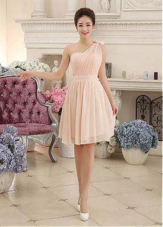 In Stock Elegant Chiffon One-Shoulder Neckline A-line Homecoming Dress