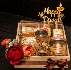 Customised Diwali Hampers by Buttercup Bungalow Lucknow. Diwali Gift Box, Diwali Gift Hampers, Ramadan Gifts, Diwali Food, Diwali Diy, Diwali Craft, Wooden Crates Gifts, Gift Crates, Creative Gift Baskets