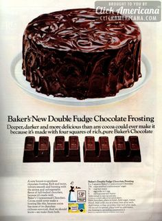 Baker's new double fudge chocolate frosting (1966)  4 to 5 squares Baker's unsweetened chocolate 2-1/4 cups unsifted confectioners' sugar 1/4 cup hot water 2 egg yolks or 1 egg 6 tablespoons soft butter  Melt chocolate, place in bowl. Add sugar, water, blend. Add yolks one at a time, beat after each. Add butter, a tablespoon at a time; beat well after each. (If too soft to spread, place bowl in cold water, stir frosting to spreading consistency.)