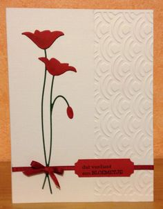 "Memory Box ""Prim Poppy"" die-cut with dry embossing. Memory Box Cards, Poppy Cards, Spellbinders Cards, Making Greeting Cards, Embossed Cards, Beautiful Handmade Cards, Get Well Cards, Handmade Birthday Cards, Sympathy Cards"