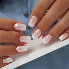25 of the most beautiful nail designs to inspire you . , 25 of the most beautiful nail designs to inspire you , Natural Nail Designs, Ombre Nail Designs, White Nail Designs, Beautiful Nail Designs, White Nails, Pink Nails, Gel Nails, White Manicure, Coffin Nails