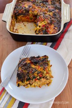 Slimming Eats Breakfast Layered Crustless Quiche - gluten free, dairy free, paleo, Whole30, Slimming World (SP) and Weight Watchers friendly