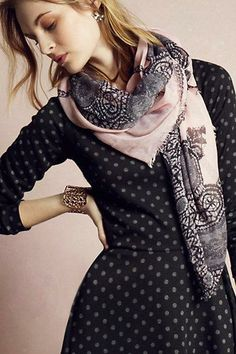 Morningside Scarf and Lace Framed Dress via Anthropologie.   linen and silk scarves are better choice--knits to bulky