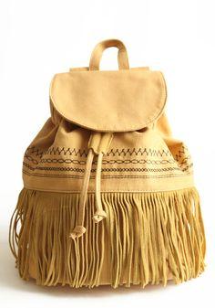 canvas fringe backpack