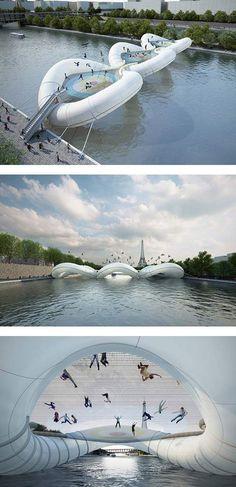 Inflatable trampoline bridge in Paris, France.