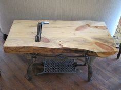Reclaimed wood Treadle coffee table. Very unique!