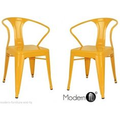 2x YELLOW TOLIX STYLE DINING CHAIRS